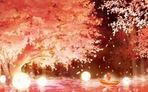 Картинка девушка, ночь, природа, лодка, весна, сакура, светящийся шар
