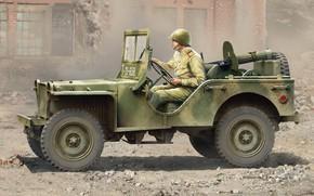 Картинка СССР, повышенной проходимости, American Bantam, американский армейский автомобиль, пулемёт максим, BRC 40