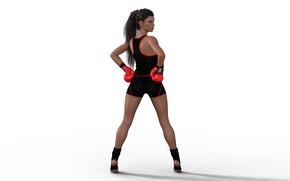 Картинка девушка, спорт, бокс, белый фон, перчатки