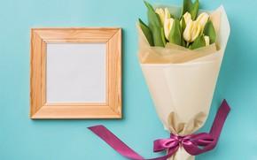 Картинка цветы, букет, рамка, лента, тюльпаны, yellow, flowers, romantic, tulips, spring
