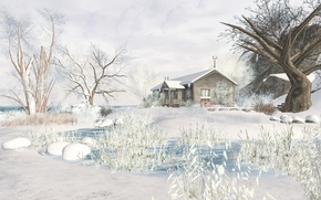 Обои зима, пейзаж, снег, дом, деревья