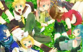Картинка музыка, девушки, аниме, арт, парни, друзья, Vocaloid, Вокалоид