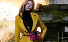 Картинка девушка, лицо, стиль, фон, волосы, сумочка, пальто