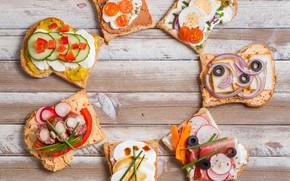 Картинка яйца, сыр, лук, помидоры, оливки, бекон, тосты, бутерброды