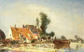 Картинка пейзаж, масло, картина, Ян Бартолд Йонгкинд, Дома на Канале около Кросвейка