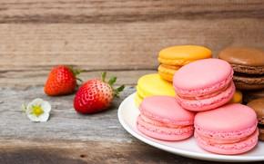 Картинка ягоды, Клубника, Печенье, Макаруны