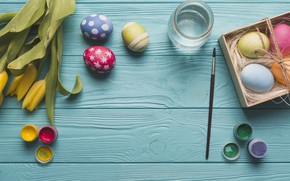 Картинка цветы, весна, желтые, Пасха, тюльпаны, yellow, flowers, tulips, spring, Easter, eggs, decoration, Happy, яйца крашеные