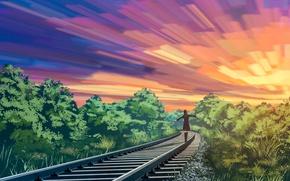 Картинка небо, девушка, природа, рельсы, liwei191