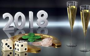 Картинка бокалы, Новый год, монеты, 2018, подкова