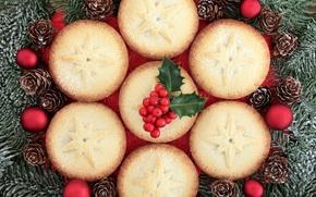 Картинка ветки, шары, елка, berry, Рождество, Новый год, шишки, выпечка, New Year, кексы, baking, cupcakes