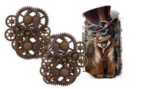 Картинка кот, очки, детская, Steampunk, стимпанк, арт, минимализм, механизм, шляпа