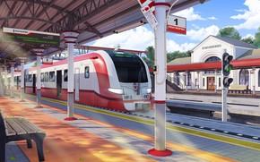 Картинка вокзал, поезд, платформа, Train, Кокошкино