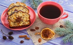 Картинка ветки, праздник, лимон, новый год, кофе, корица, выпечка, декор, кекс, анис