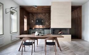 Картинка дизайн, интерьер, камин, столовая