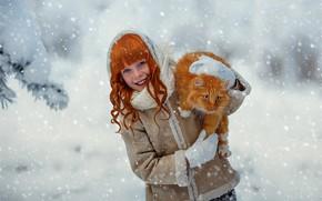 Картинка зима, кошка, кот, снег, смех, девочка, рыжая, ребёнок, локоны, Julia Voinich