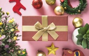 Картинка подарок, новый год, бант, декор