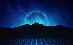 Картинка Горы, Музыка, Звезды, Неон, Планета, Холмы, Фон, Synthpop, Darkwave, Synth, Retrowave, Synthwave, Synth pop