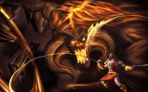 Картинка cinema, sword, game, Balrog, monster, Kratos, God of War, man, movie, ken, The Lord of …