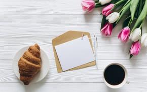 Картинка цветы, кофе, colorful, чашка, тюльпаны, розовые, white, белые, fresh, wood, pink, flowers, beautiful, cup, tulips, …
