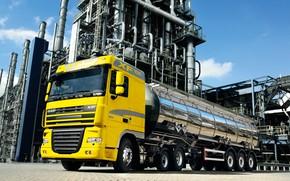 Картинка жёлтый, завод, тягач, DAF, цистерна, ДАФ, Euro5, 6х2, DAF XF105.410, поддерживающая поднимаемая ось