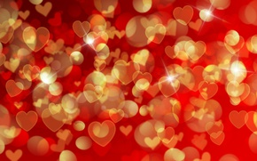Обои bokeh, background, love, romantic, сердечки, hearts, Valentine's Day, red