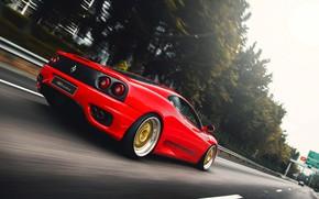 Картинка Красный, Авто, Дорога, Машина, Скорость, 360, Суперкар, Modena, Ferrari 360, Suspension, Ferrari Modena 360