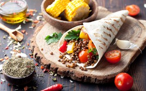 Картинка кукуруза, овощи, помидоры, food, специи, лепешка, mexican, tortilla