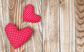 Картинка сердечки, red, love, wood, romantic, hearts, valentine's day