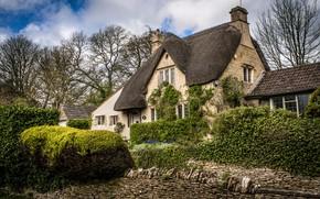 Картинка Castle Combe, сад, деревья, кусты, Англия, деревня, дом, камни