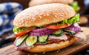 Картинка мясо, огурцы, булочка, начинка, бургер