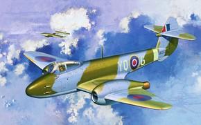 Картинка Королевские ВВС, Gloster Meteor, Gloster Aircraft Company, первый британский реактивный истребитель, F.1, F.Mk I