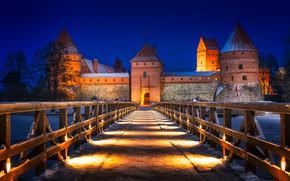 Обои река, ночь, Литва, огни, Trakai Castle, замок, деревья, зима, мост, снег, башни, стены