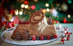 Картинка ягоды, праздник, новый год, крем, выпечка, тортик