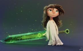 Картинка оружие, настроение, меч, девочка, rico cilliers, Cute but Dangerous, папина дочка