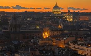 Картинка огни, вечер, Рим, Италия, панорама, Собор Святого Петра