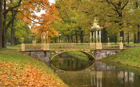Картинка осень, деревья, мост, пруд, парк, Санкт-Петербург, Пушкин