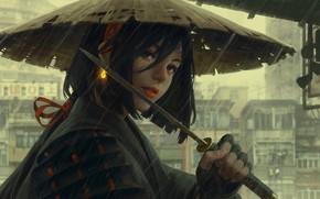 Обои шляпа, Japan, женщина-воин, серый город, доспехи, дождь, art, вакидзаси, рукоятка, Guweiz