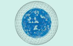 Картинка белый, свет, голубой, light, white, сфера, blue, render, рендер, блендер, sphere, wireframe, blender3d