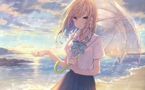 Картинка небо, девушка, зонтик