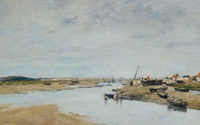 Картинка пейзаж, река, лодка, картина, Эжен Буден, Eugene Boudin, Этапль