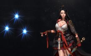 Обои девушка, фэнтези, воин, арт, дизайн костюма, kong R, Hanbok, оружие
