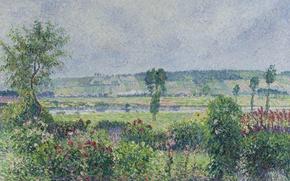 Картинка пейзаж, картина, Камиль Писсарро, Долина Сены возле Дампса. Сад Октава Мирбо