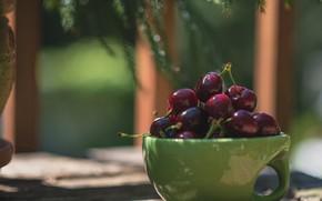 Картинка вишня, ягоды, чашка