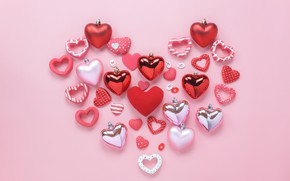 Картинка любовь, фон, розовый, сердце, сердечки, red, love, pink, romantic, hearts, valentine