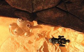 Картинка камни, сооружение, объект, аппарат, Mars Base