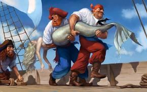 Обои mast, bare back, blonde, Pirates, rope, hat, fantasy art, mermaid, bare shoulders, blindfold, situation, artwork, ...