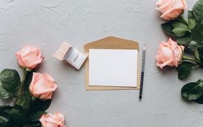 Картинка письмо, цветы, лента, Фон, деревянный, Розы, бутоны, конверт, Подарок