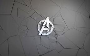 Обои логотип, осколки, MARVEL, The Avengers, Мстители, комикс, Avengers, фон, Logo, графика