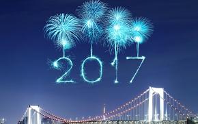 Обои new year, fireworks, happy, 2017, Новый Год
