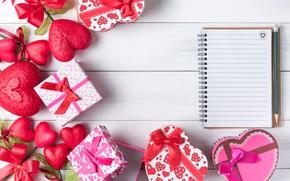 Картинка любовь, сердце, подарки, сердечки, red, love, бант, box, heart, wood, romantic, valentine's day, gift